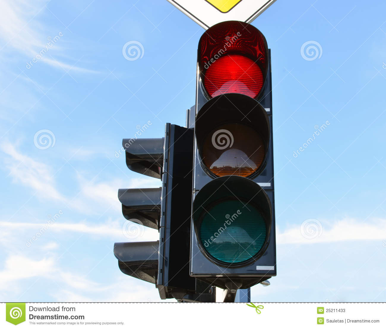 Red Color Traffic Light Blue Sky In Background Stock Image