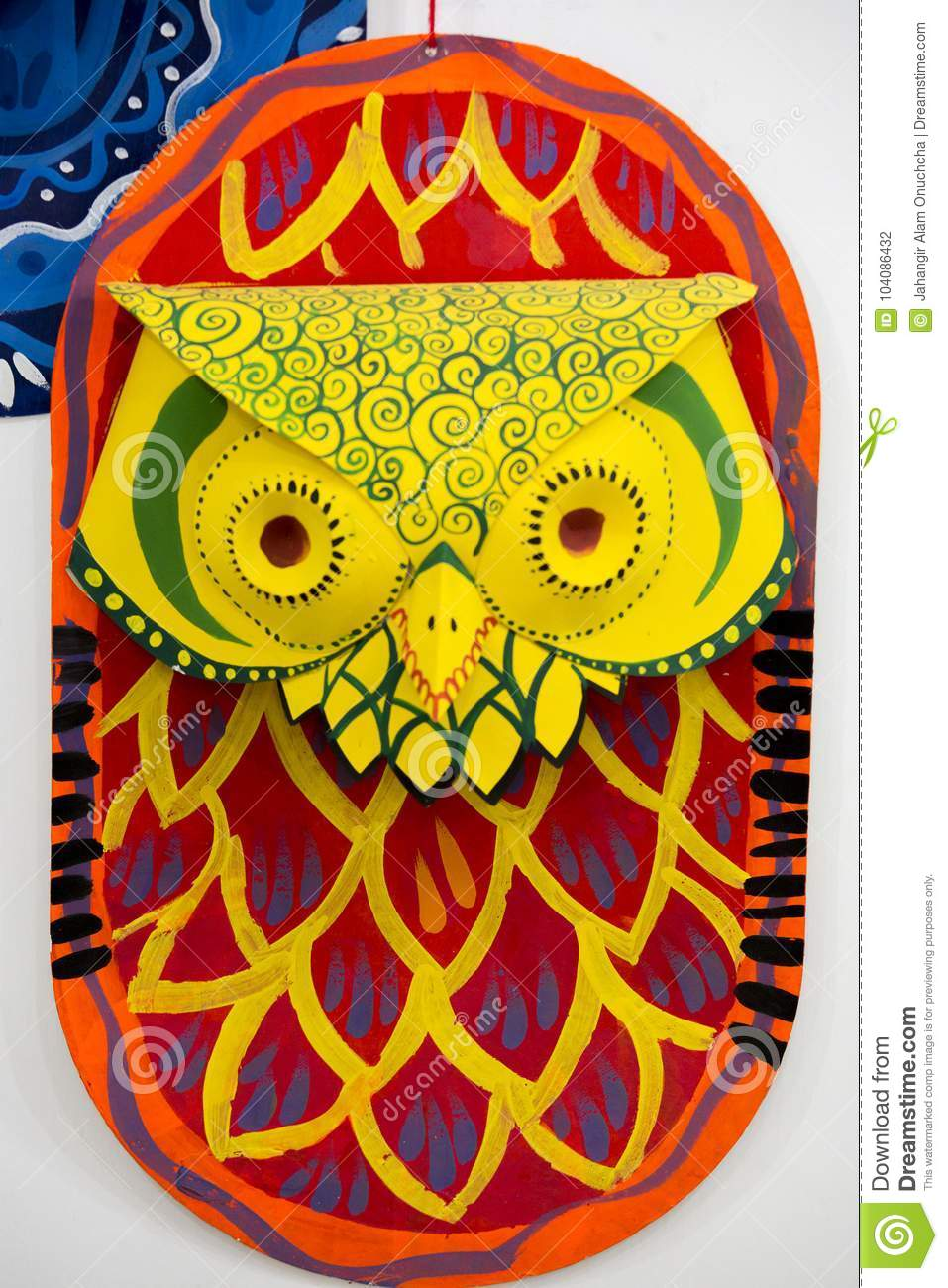 Red Colorful Owl Mask Hanging On Art Institute Wall. Editorial ...