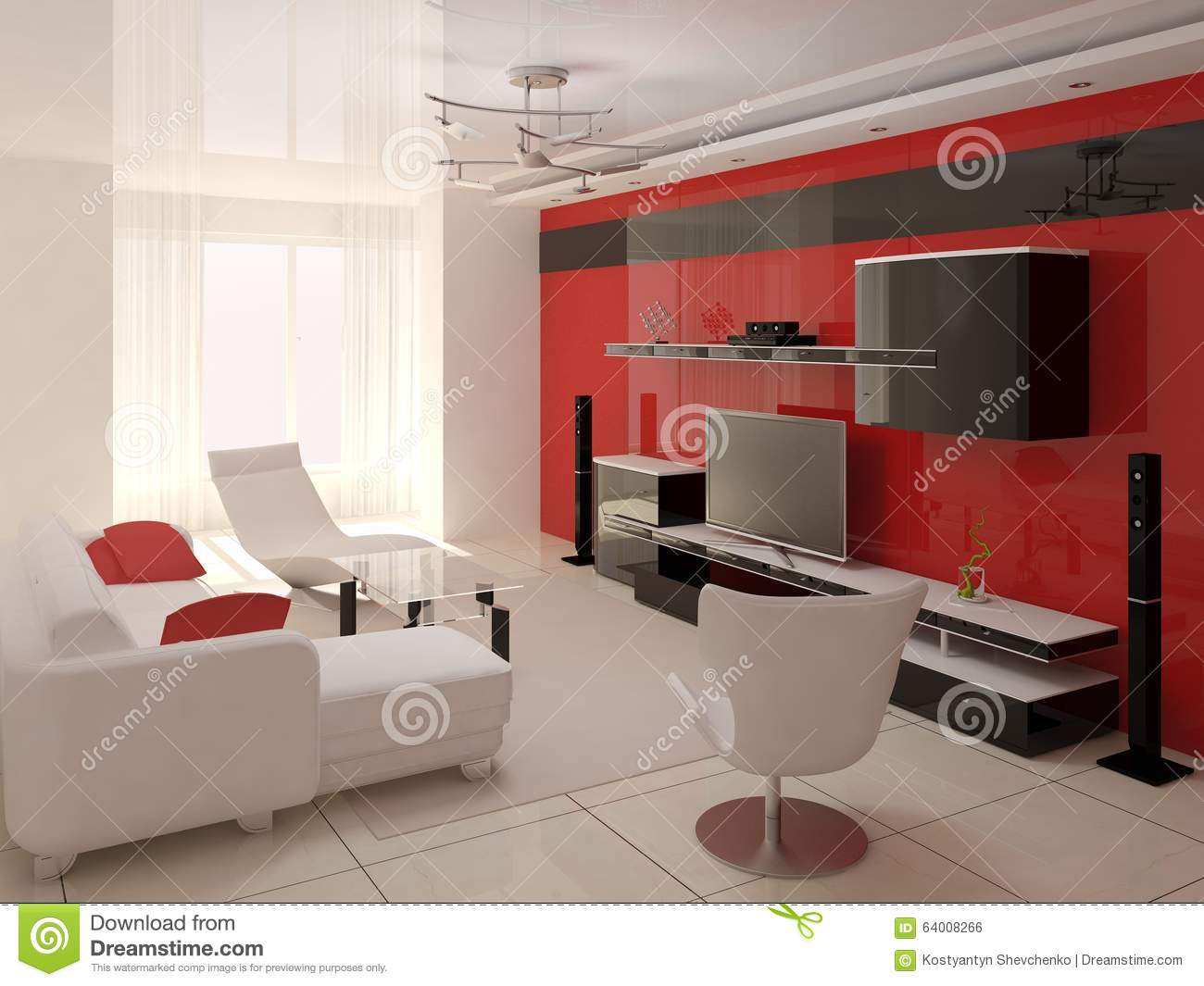 Red Colors Living Room Stock Illustration Image 64008266