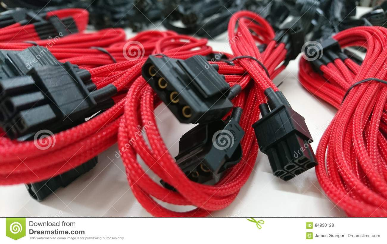 Red Computer Gaming Cables Wires Stock Photo - Image of braided ...