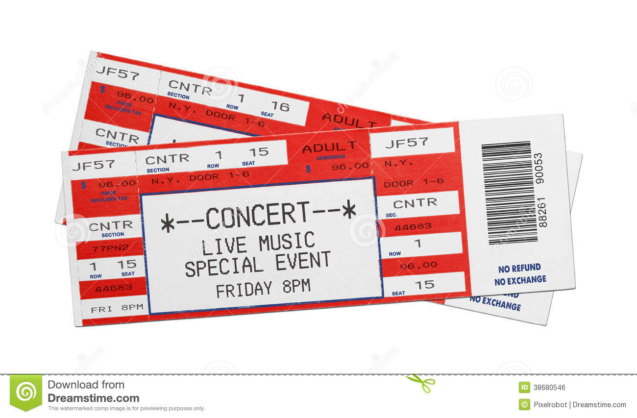 Blank Concert Tickets Pair of blank red concert performance tickets ...