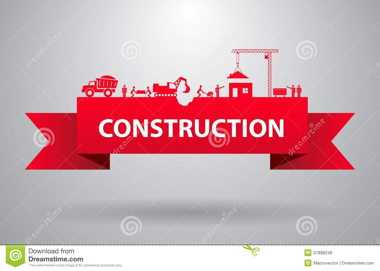 Red Construction Banner Royalty Free Stock Photos Image