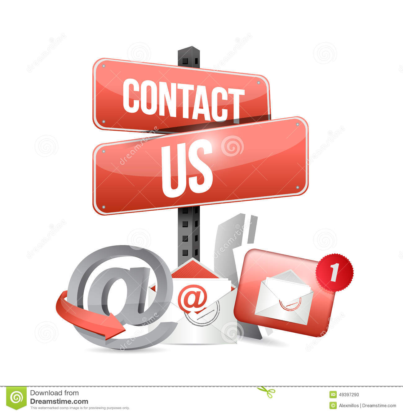 Contact Us Red >> Red Contact Us Sign And Icons Stock Illustration