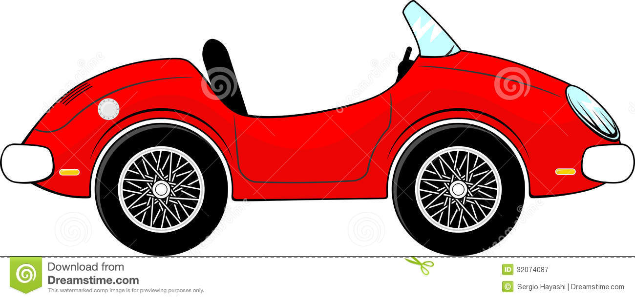 Red Convertible Car Cartoon Royalty Free Stock Photography Image