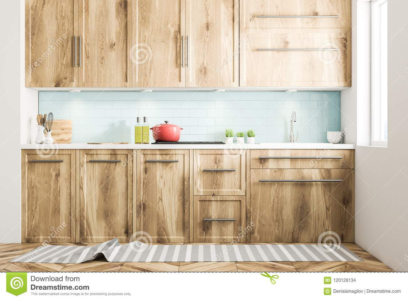 Red Cooking Pot On Wooden Kitchen Counter Front Stock Illustration Illustration Of Open Flat 120128134
