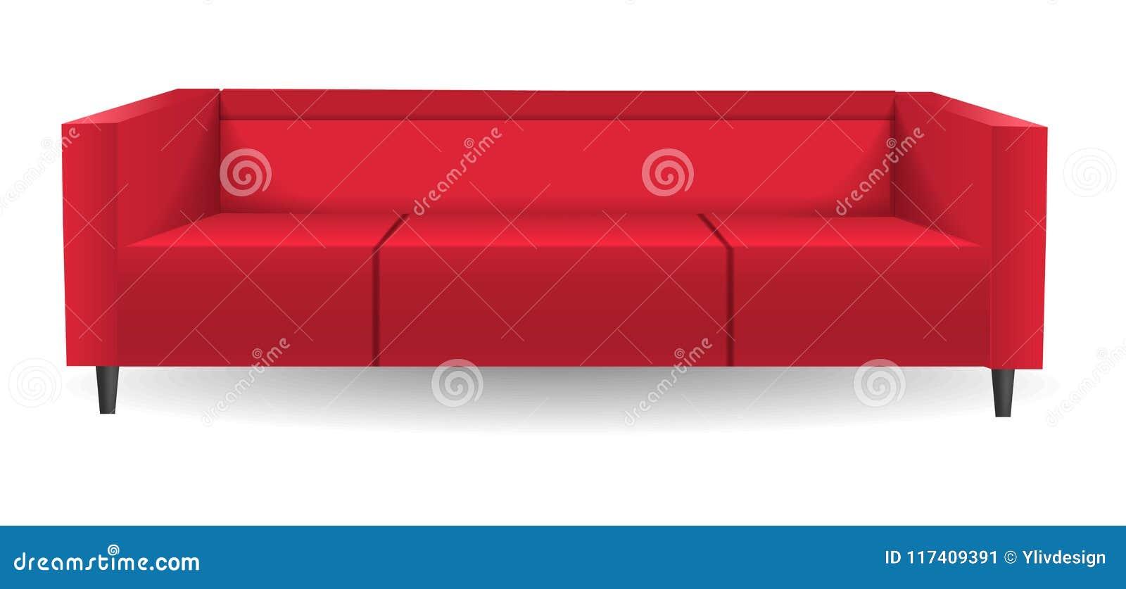 Red Corner Sofa Mockup, Realistic Style Stock Vector - Illustration ...