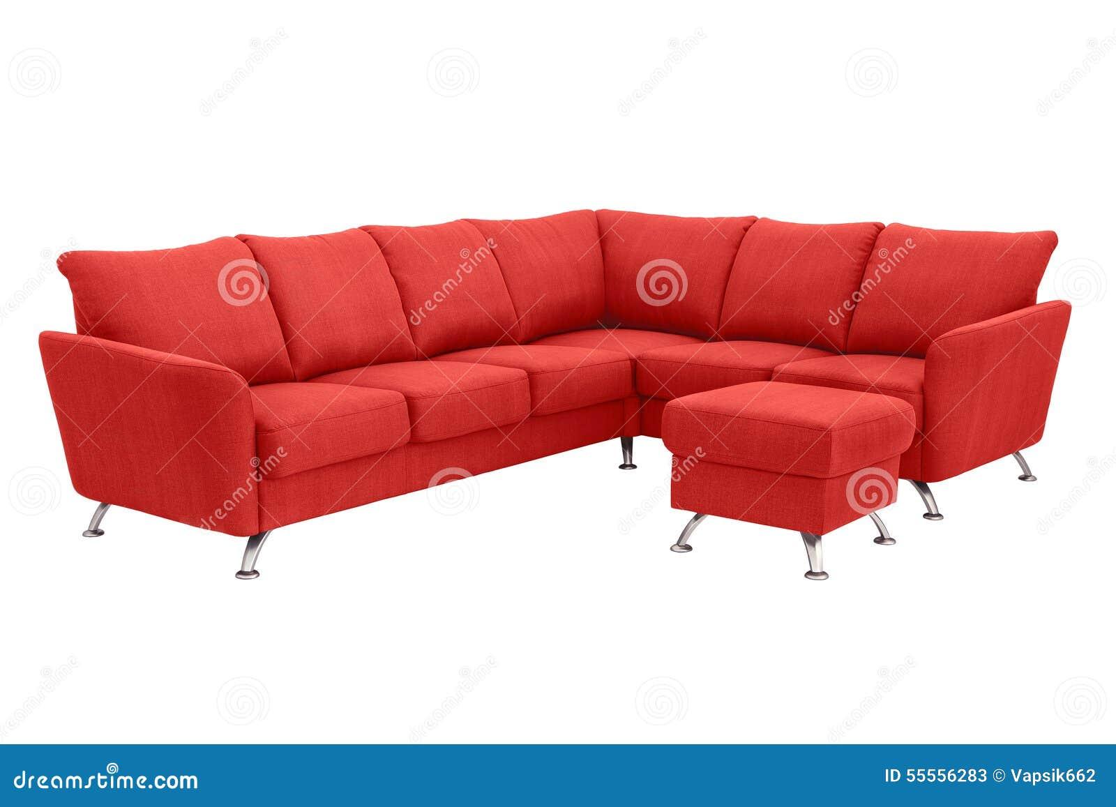 Red corner sofa. stock image. Image of style, legs, textile ...