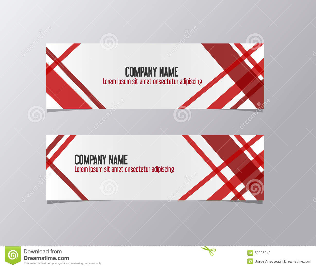 Red Corporate Banner Identity Template Geometric Lines