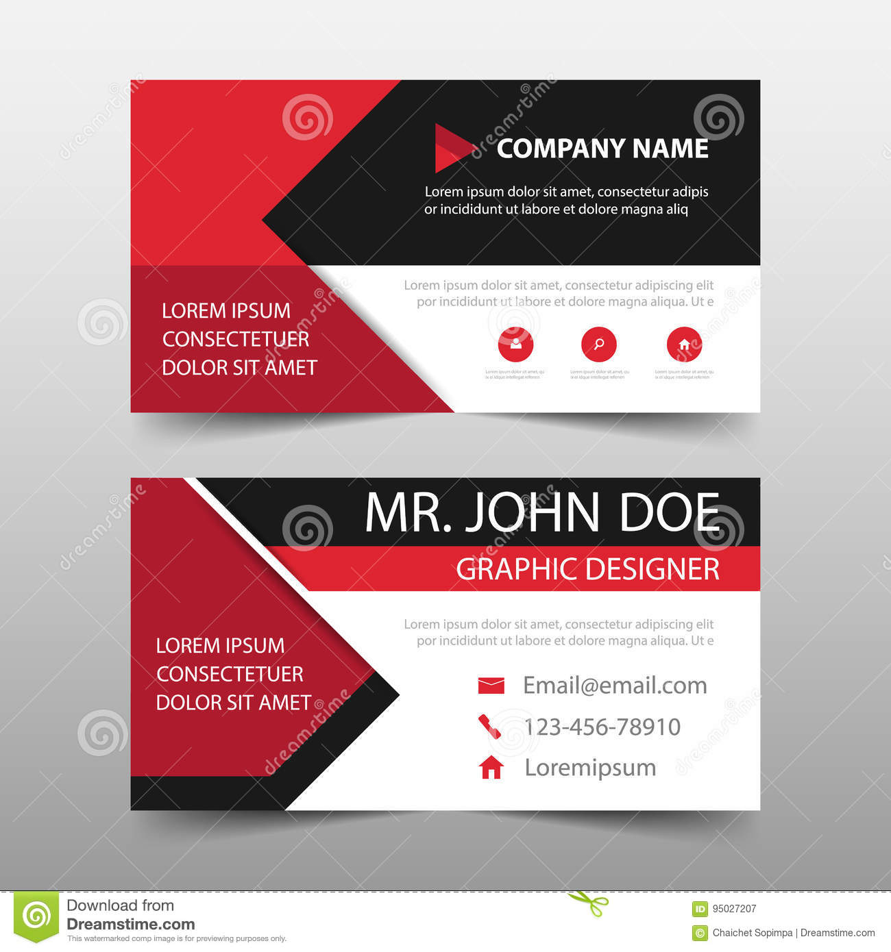 red corporate business card name card template horizontal simple