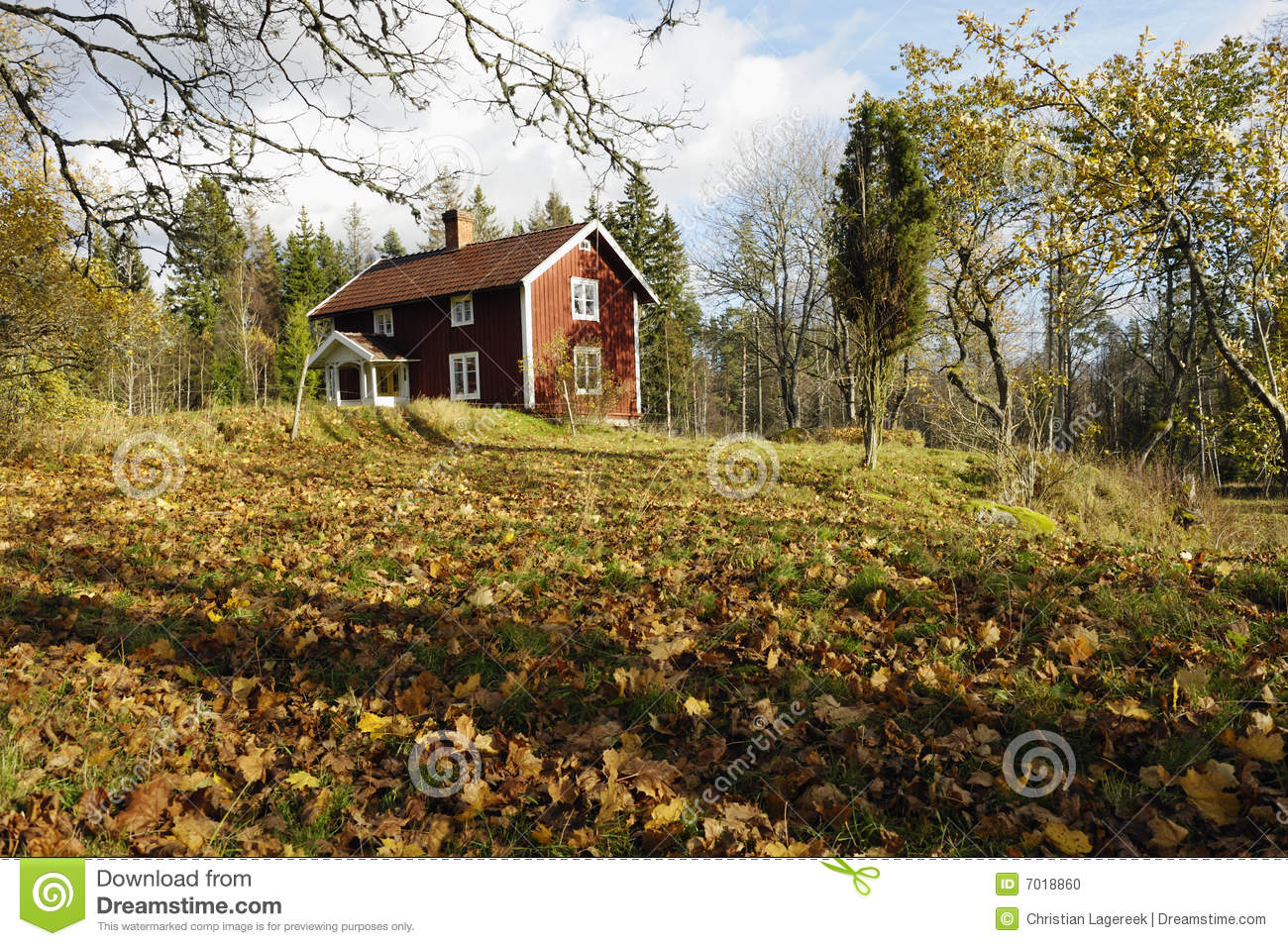 Red cottage and autumn leaves stock photo image 7018860 for Red cottage