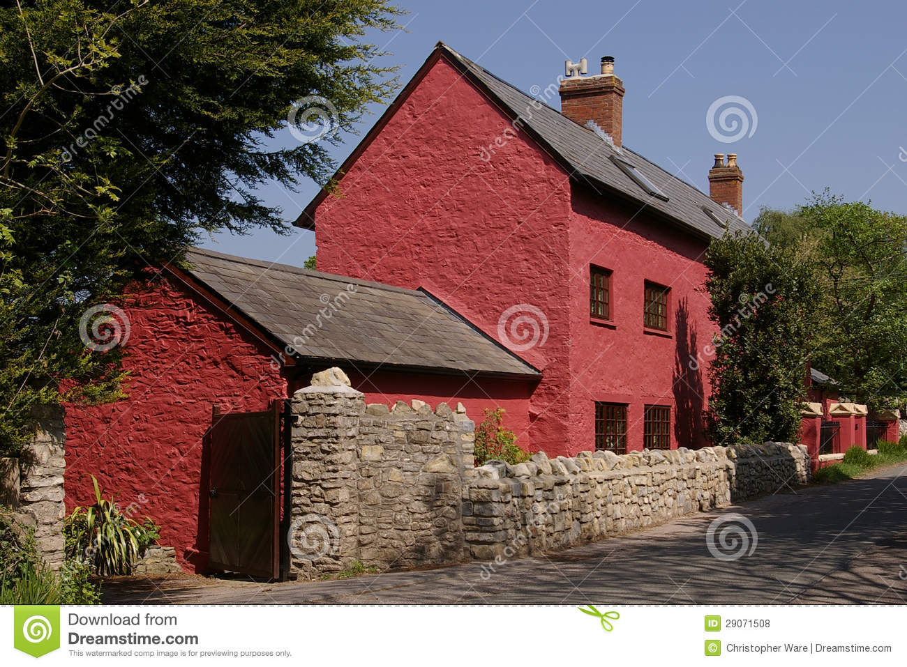 Red cottage in glamorgan uk royalty free stock photos for Red cottage