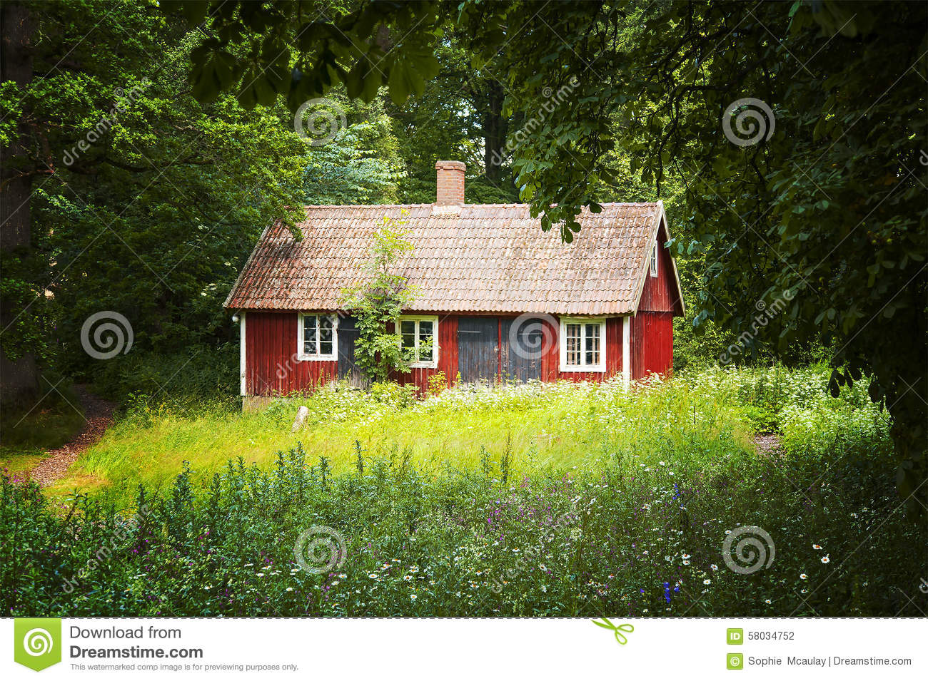 Red Cottage Stock Photo Image 58034752