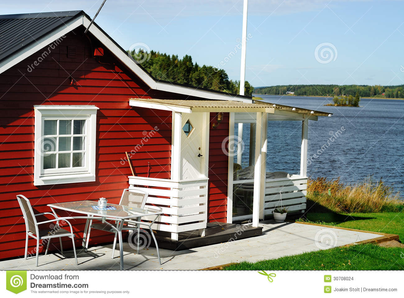 Red Cottage By Lake Stock Images Image 30708024