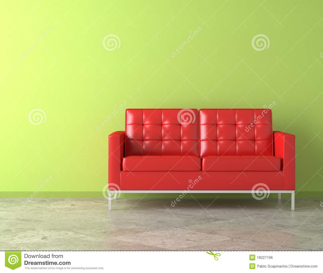 red couch on green wall stock illustration image of. Black Bedroom Furniture Sets. Home Design Ideas