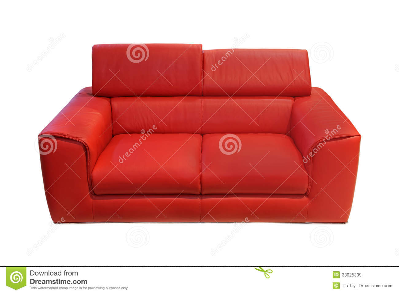 Red couch stock image. Image of leather, clipping, path ...