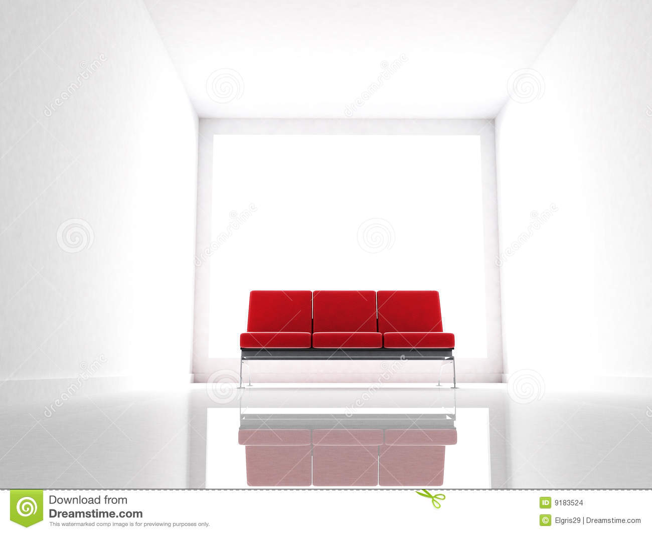Red couch on a modern and white room