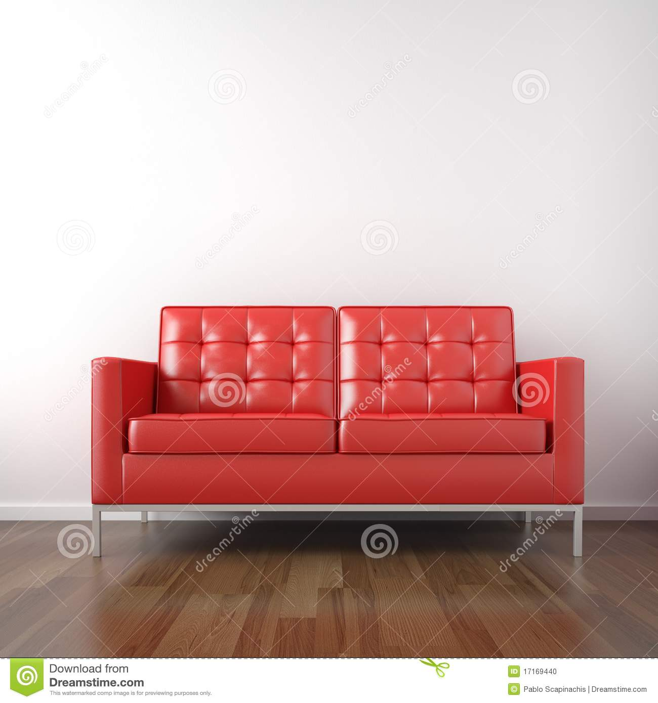 red couch in white room stock photo image 17169440