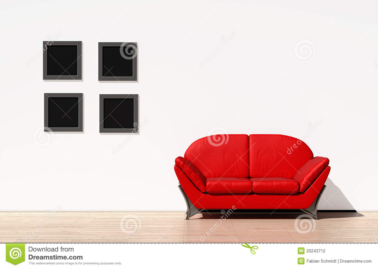 Red Couch On A White Wall Stock Illustration Illustration Of Sofa