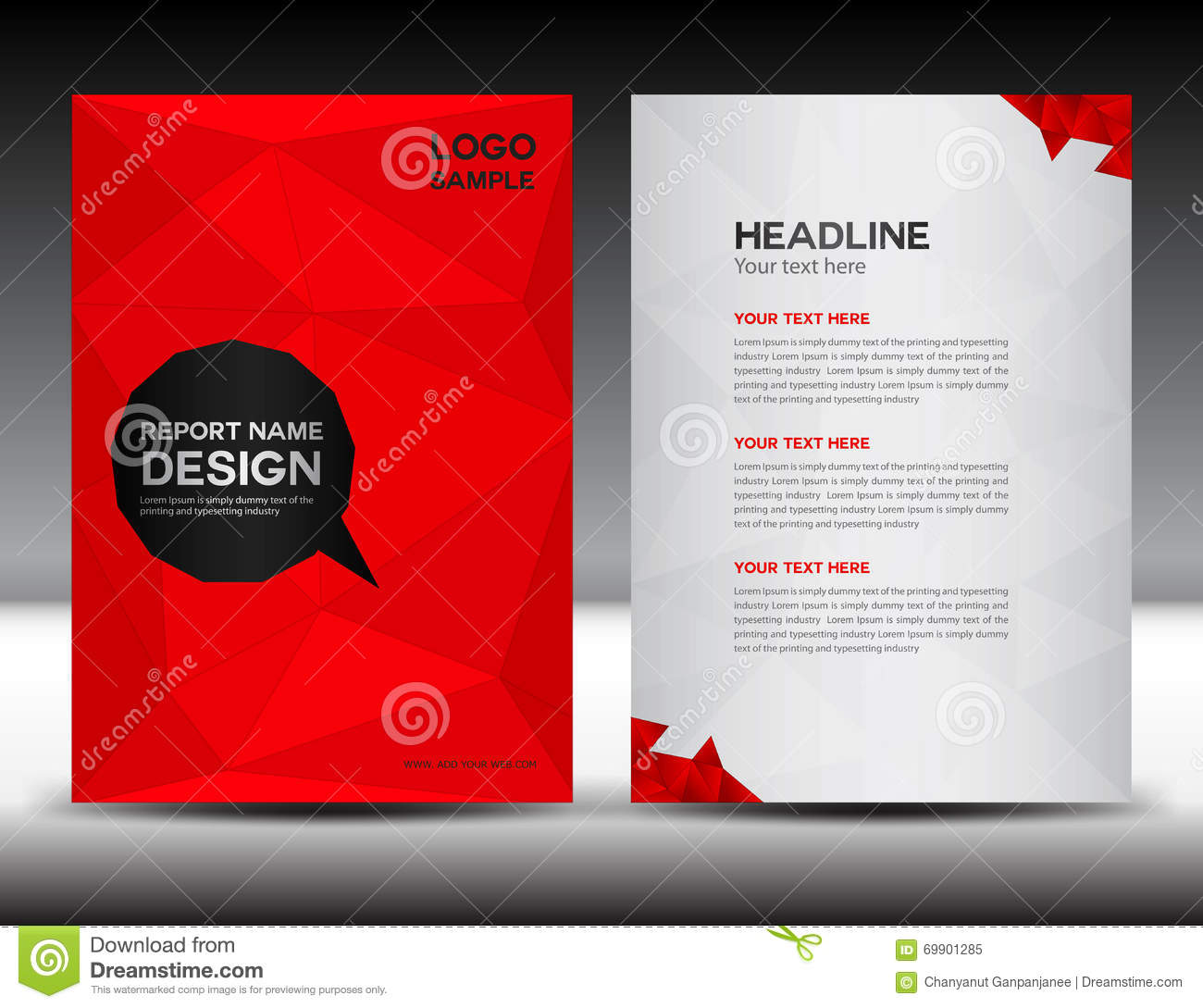 Red Cover Annual Report Design Vector Illustration Royalty Free