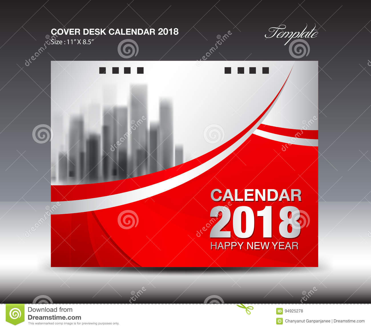 Cover Calendar Design Vector : Red cover desk calendar year template design stock