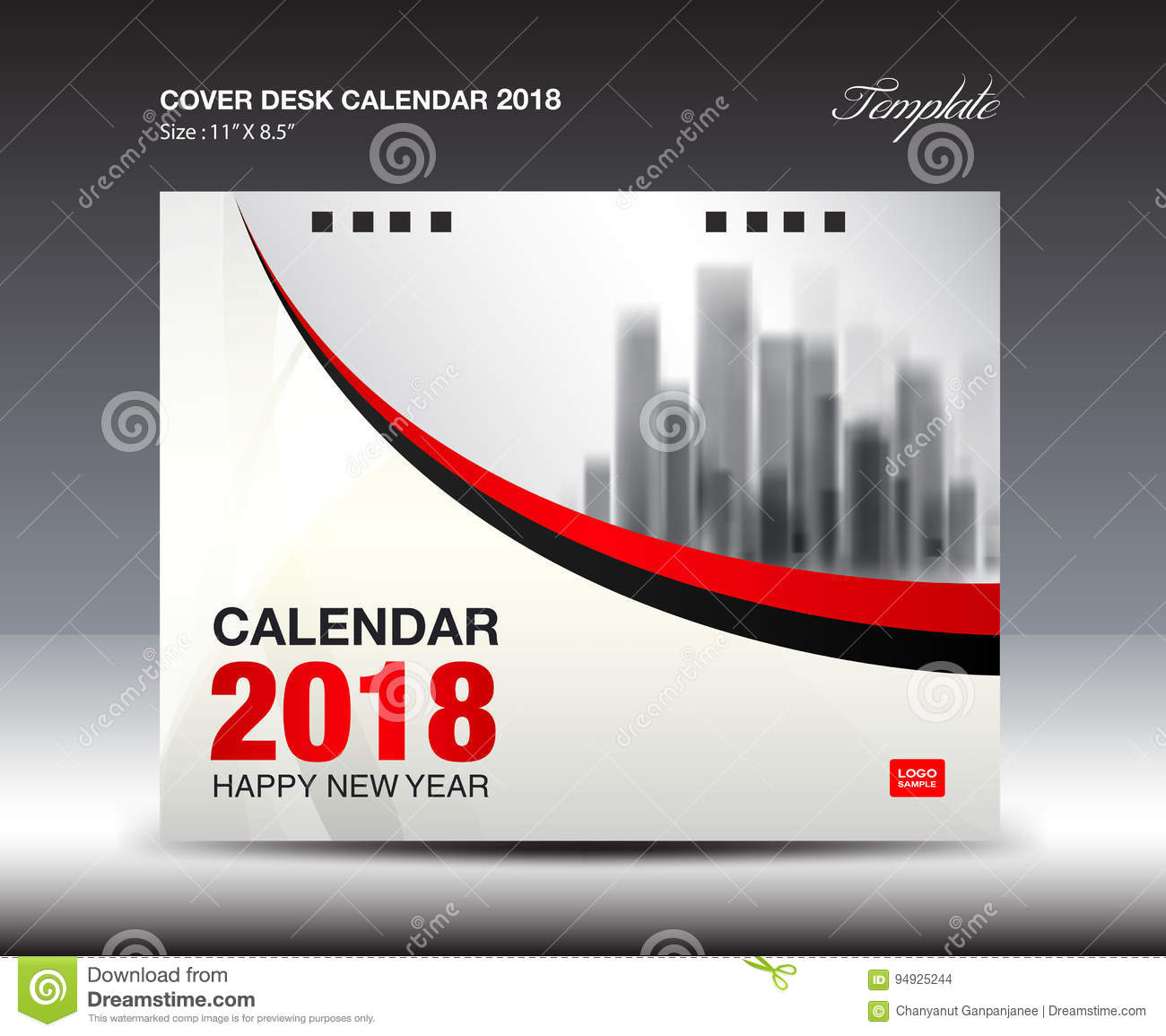 Calendar Cover 2018 : Red cover desk calendar year template flyer stock