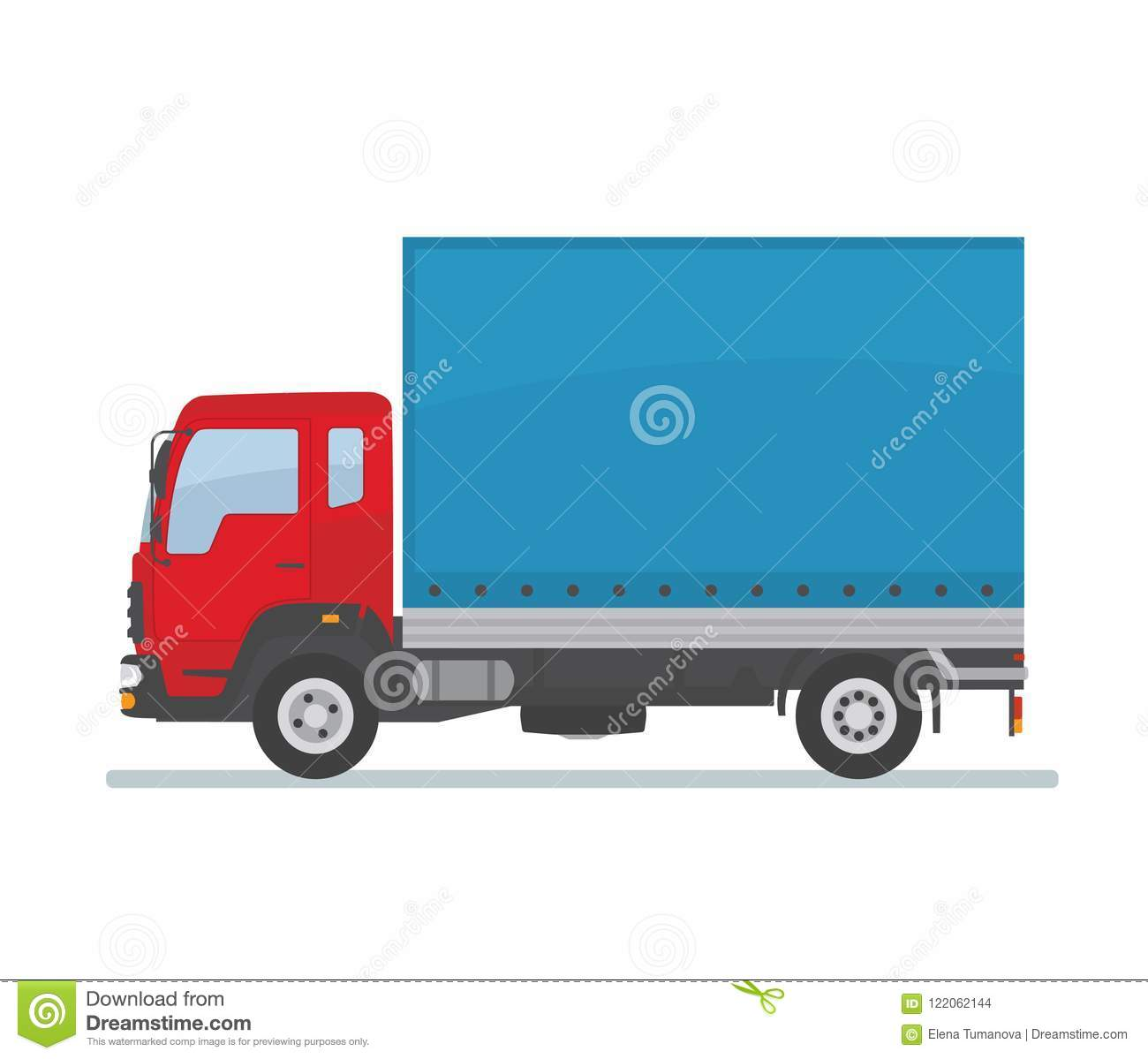 Red covered truck isolated on white background. Transport services, logistics and freight of goods.