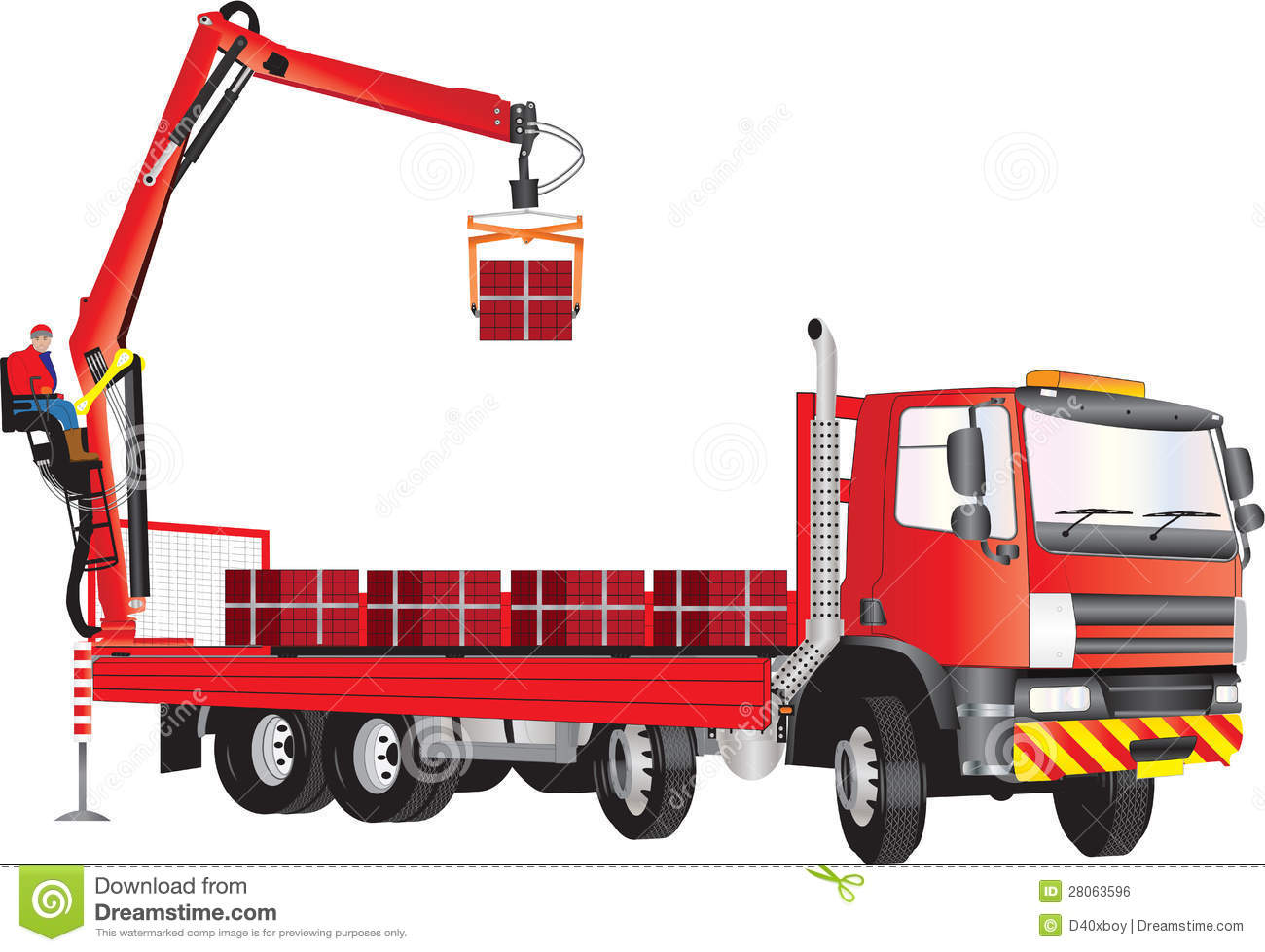 red crane truck stock photo image of freight consignment 28063596. Black Bedroom Furniture Sets. Home Design Ideas