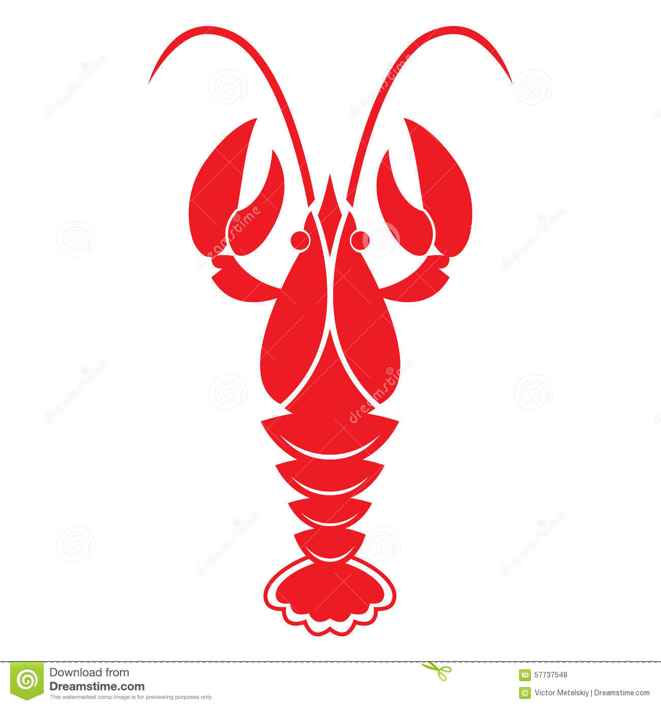 Red Crawfish On White Background. Vector Icon Or Sign. Stock Vector - Image: 57737548