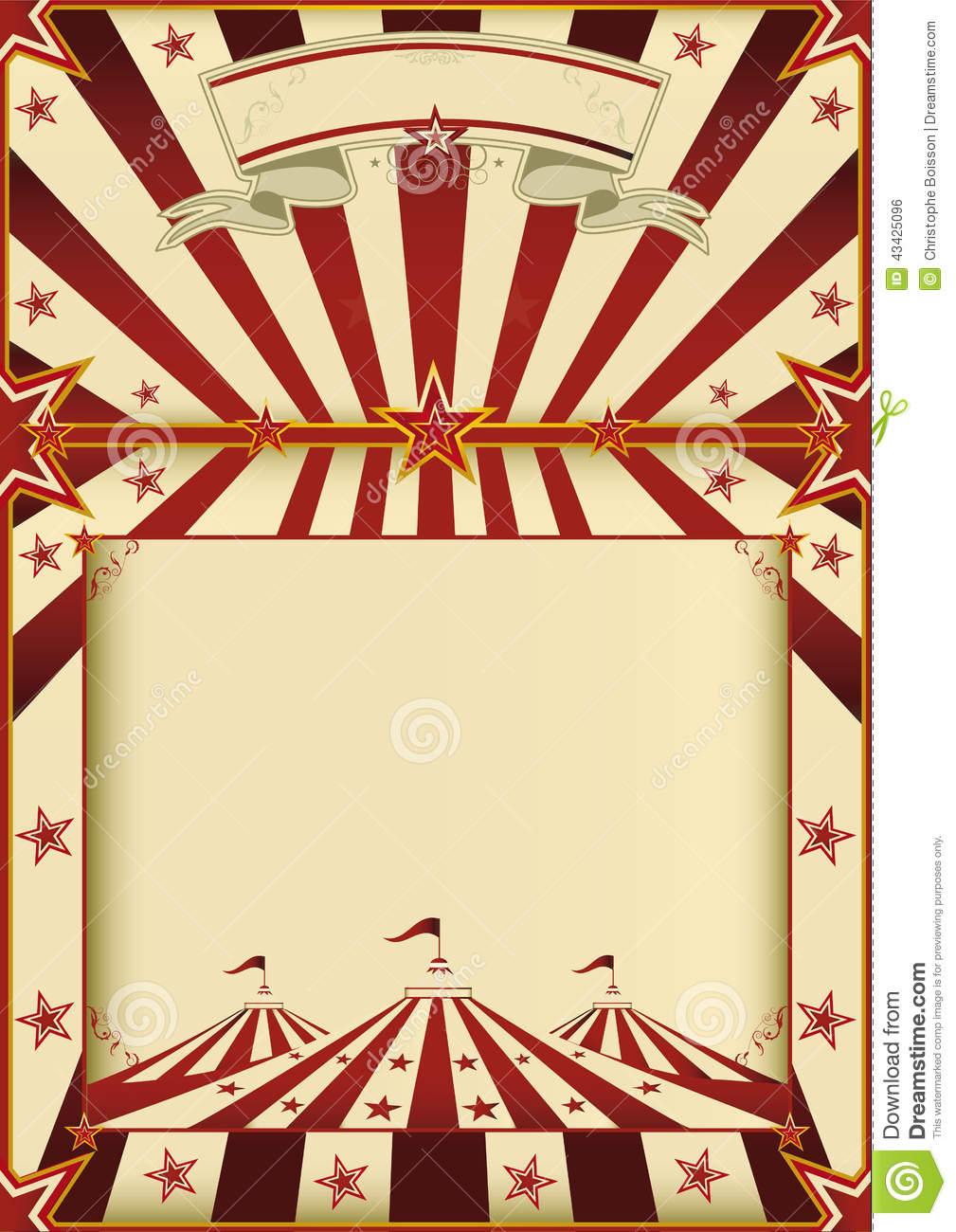 Red And Cream Circus Poster Stock Vector