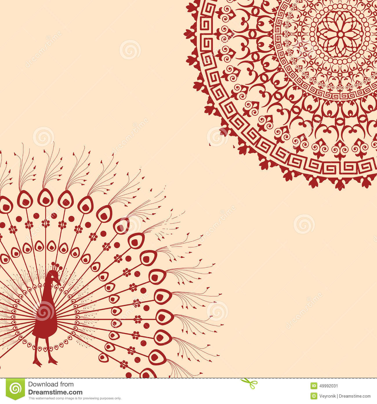 Red And Cream Indian Peacock Mandala Background Stock Vector - Image ...