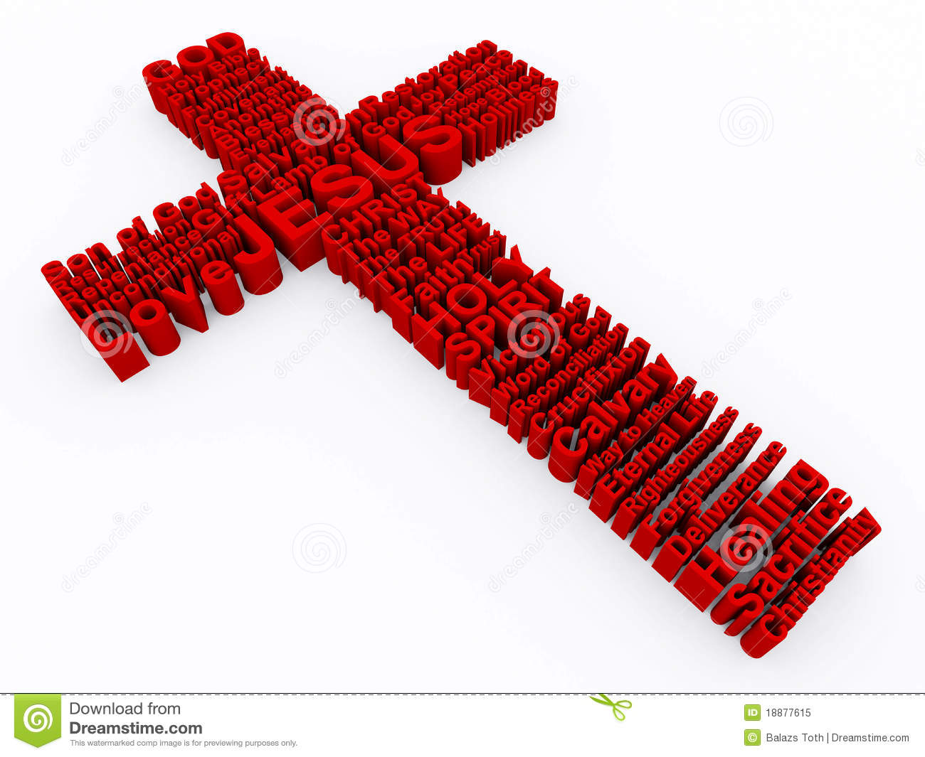 3D Cross made up of various words that describe Christianity and Jesus ...
