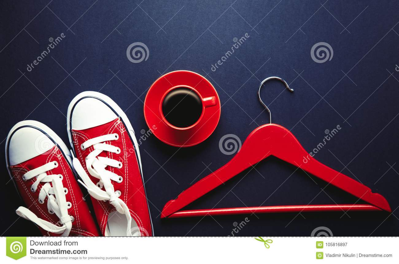 Red Cup Of Coffee With Hanger And Gumshoes Stock Image Image Of