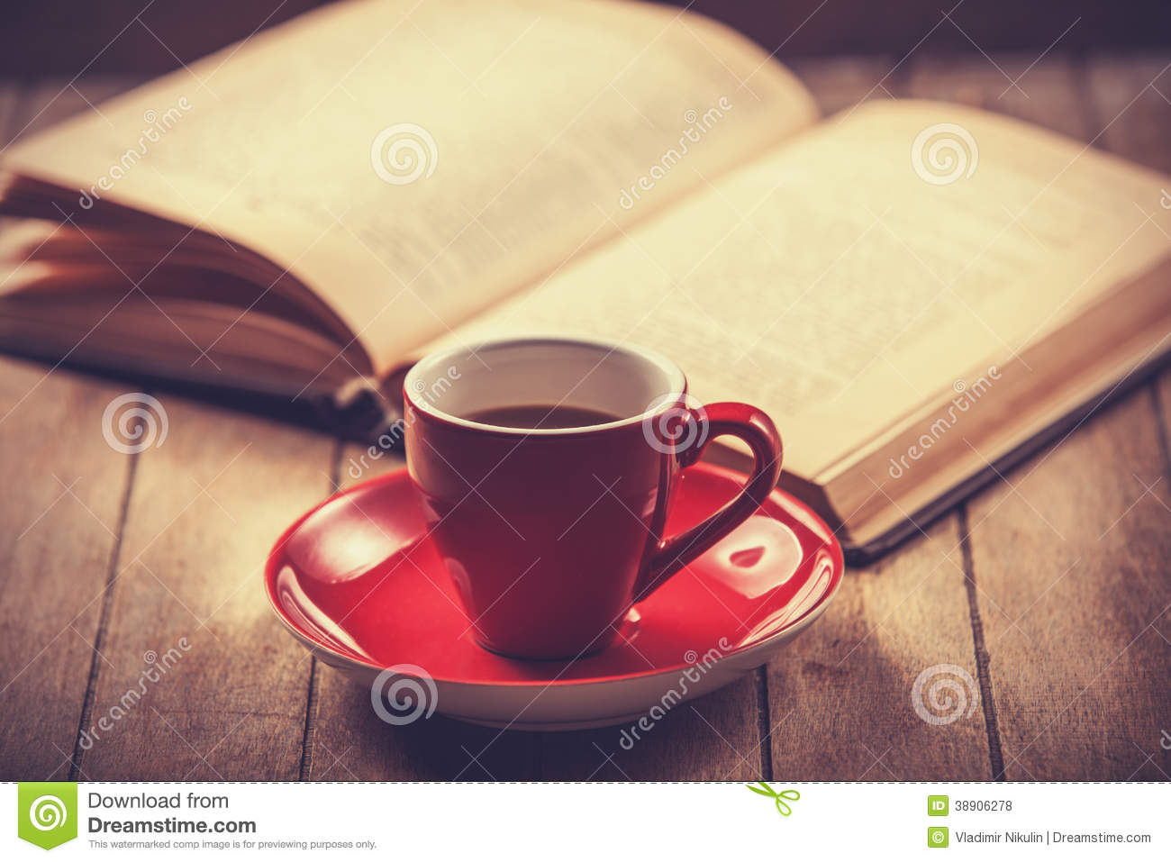 Red Cup Of The Coffee And Vintage Book Stock Photo