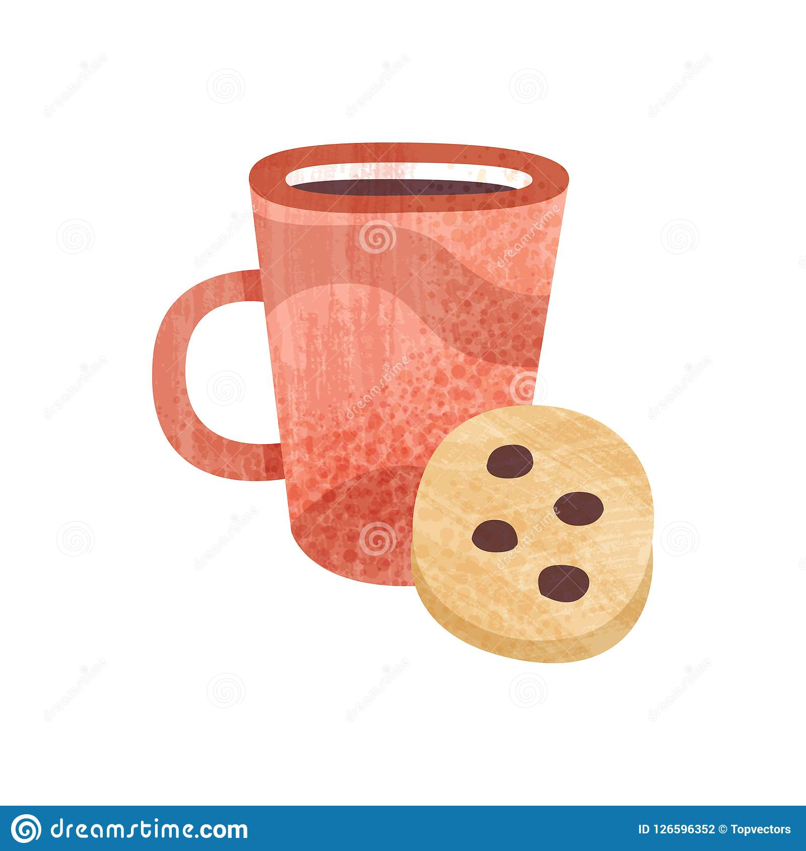 Red Cup Of Tea And Sweet Cookie Mug Of Fresh Coffee Tasty Snack And Beverage For Breakfast Flat Vector Icon With Stock Vector Illustration Of Banner Decoration 126596352