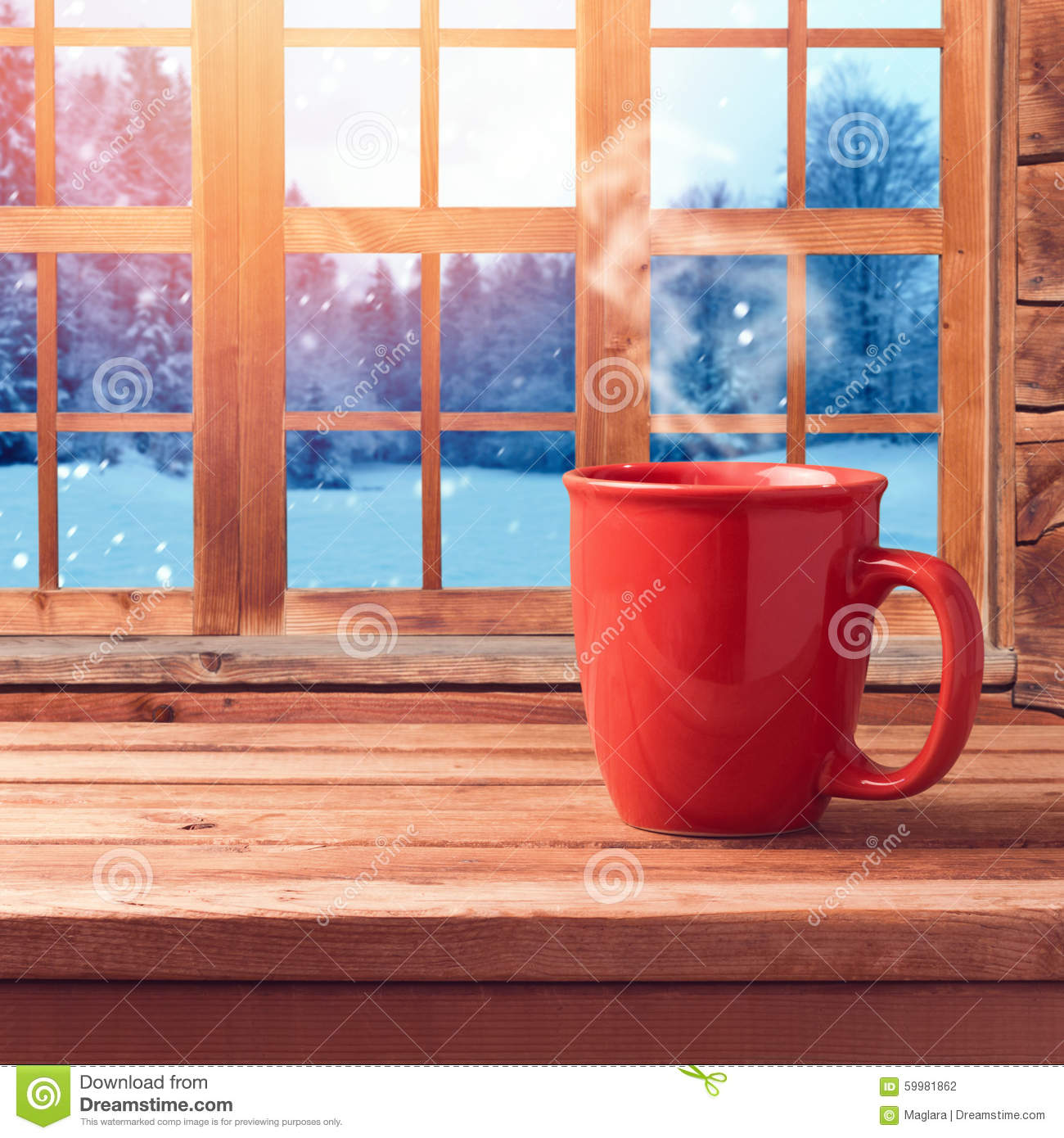Red Cup On Wooden Table Over Window With Winter Nature