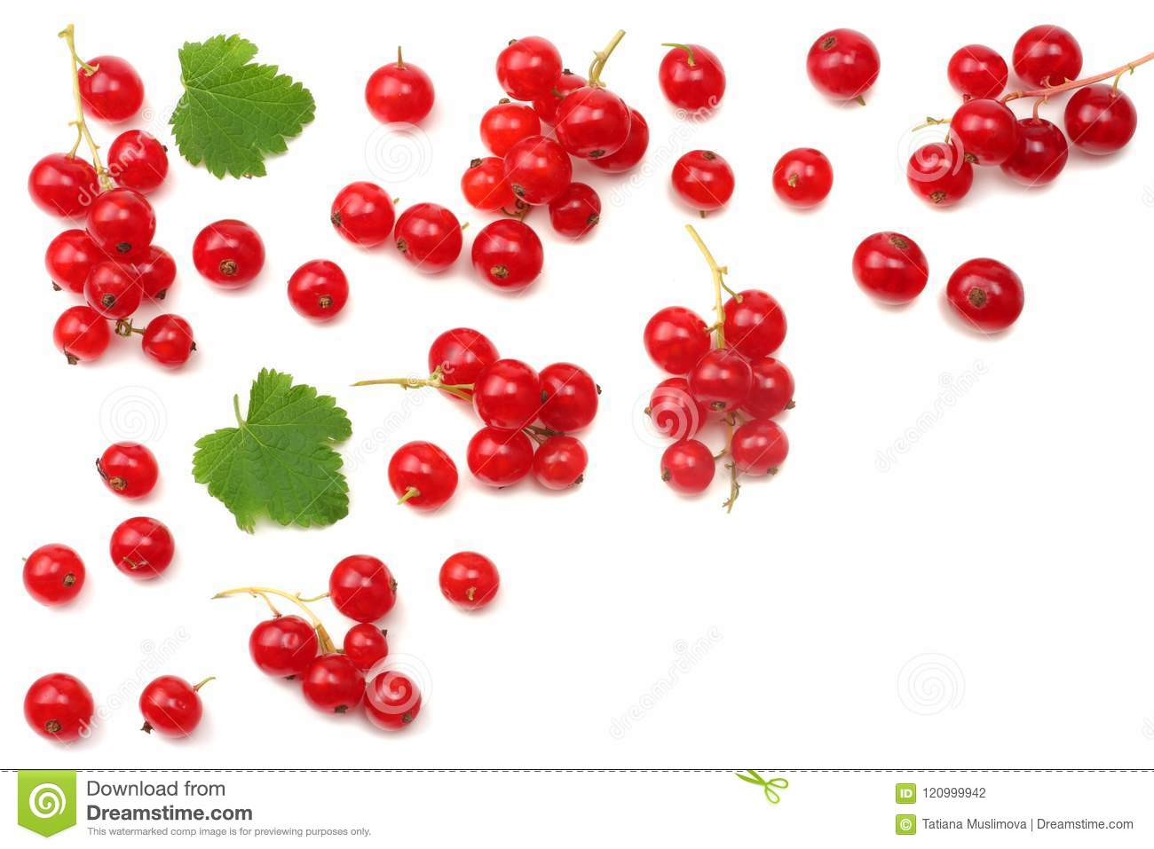 red currant with green leaf isolated on a white background. healthy food. top view