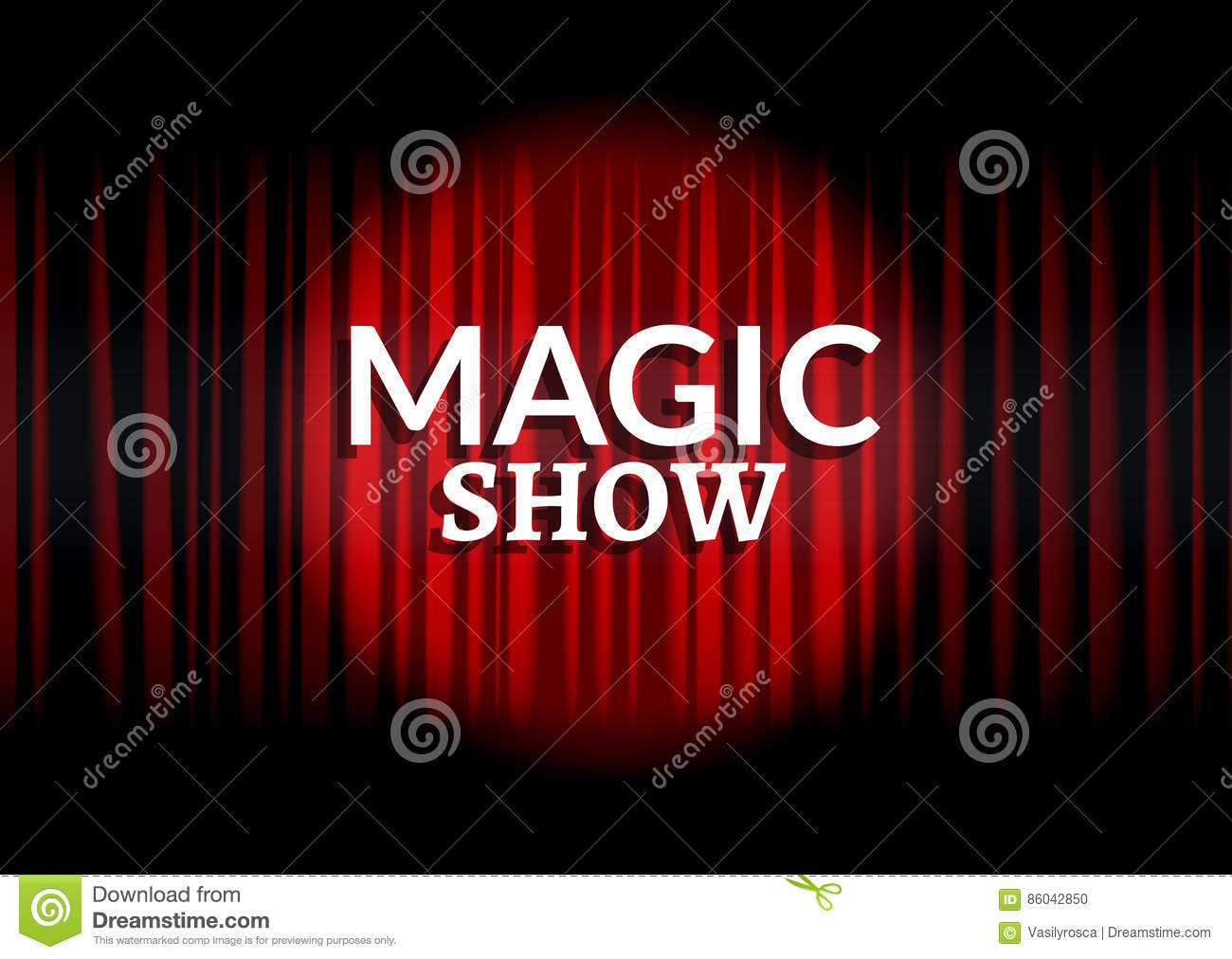 Red curtain with circle light. Magic show concept poster template design