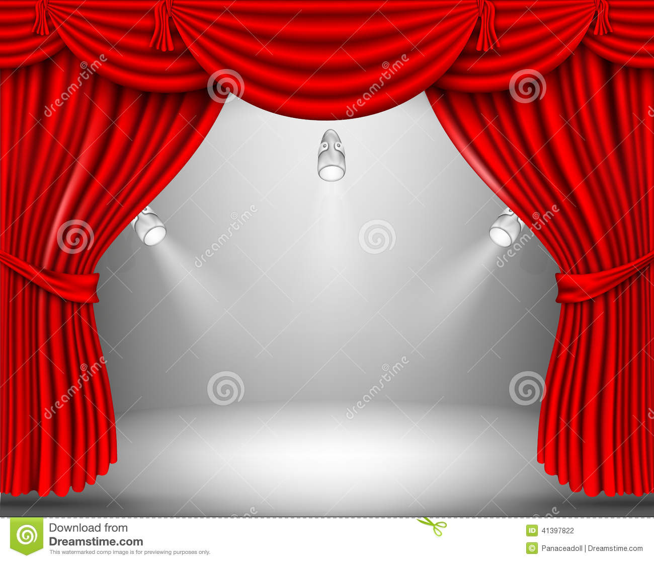 Red stage curtain with lights - Red Curtain With Lights Stock Photography