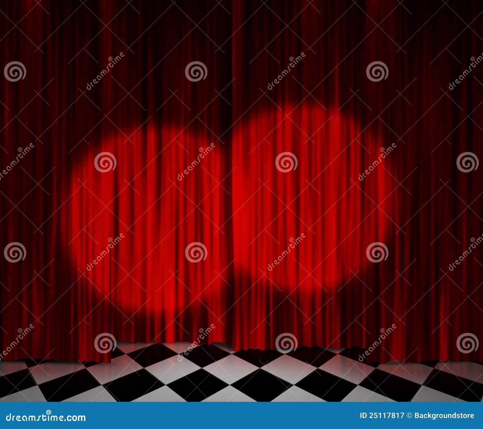 Red curtain spotlight - Background Curtain Red Spotlight