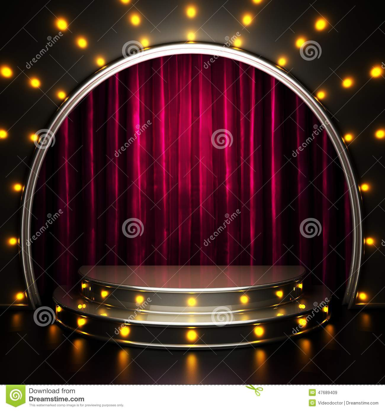 Red Curtain Stage With Lights Stock Illustration Image