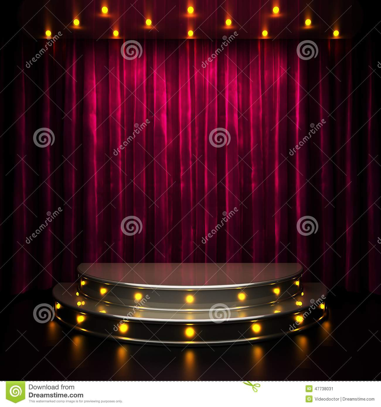 Red stage curtain with lights - Curtain Lights Red Rendered Stage