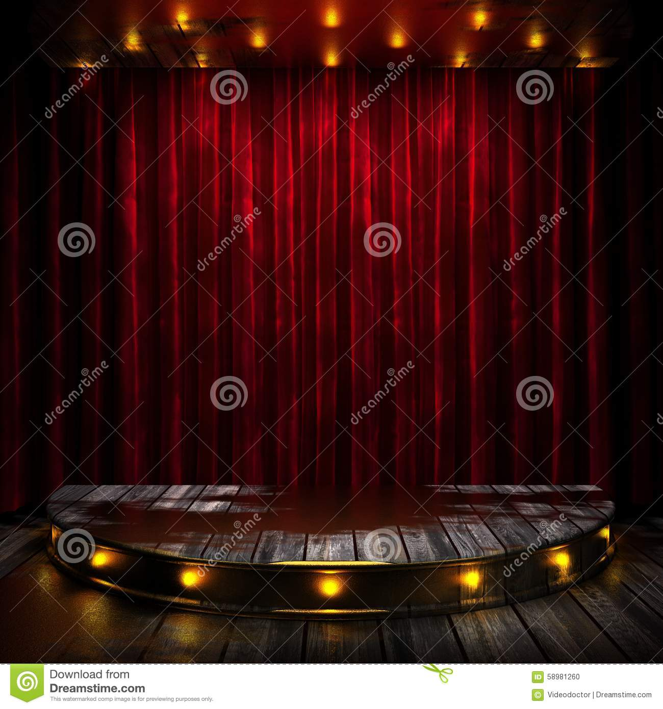Red stage curtain with lights - Red Curtain Stage With Lights
