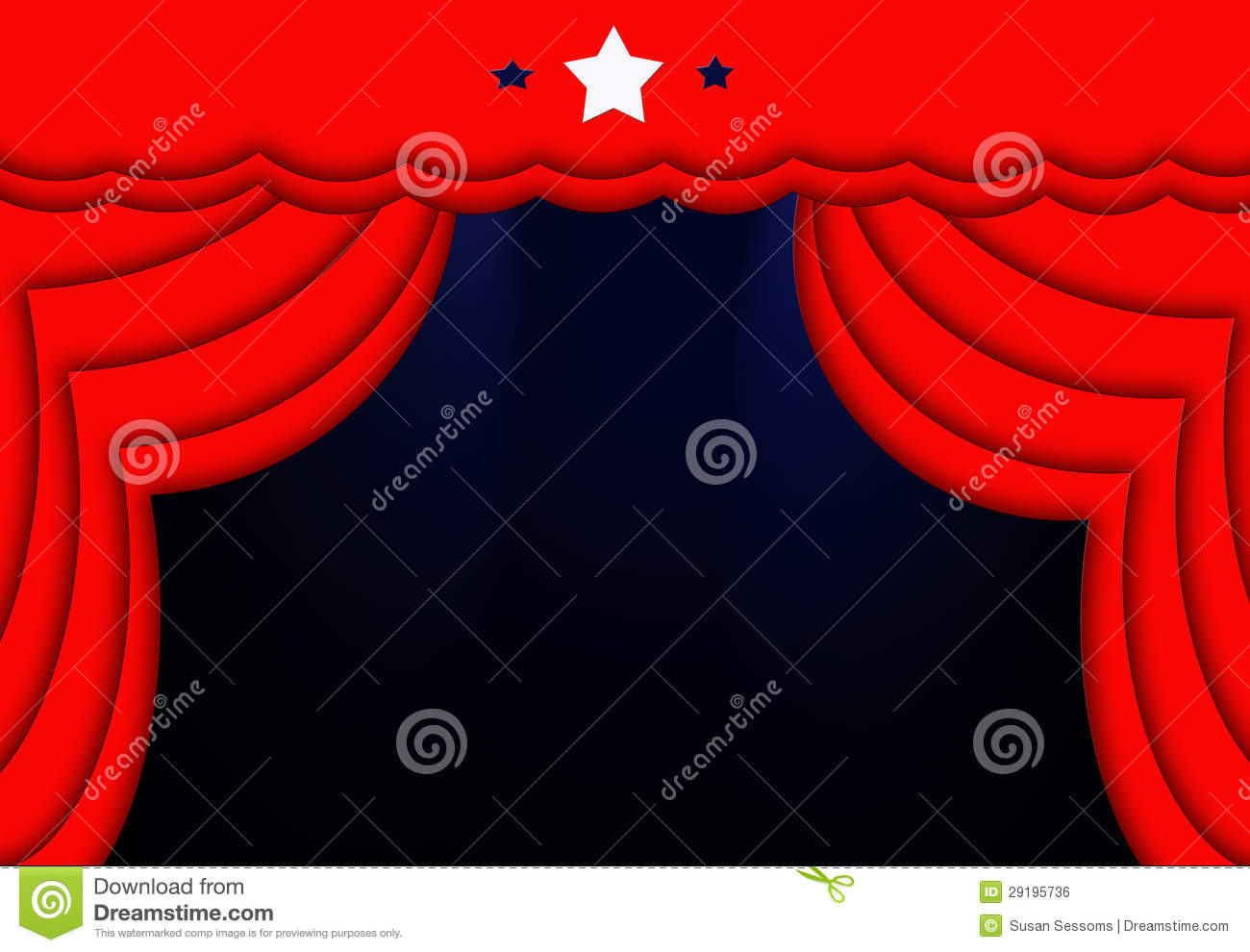 Red stage curtain with lights - Red Curtains Blue Lights Stars Stage Background