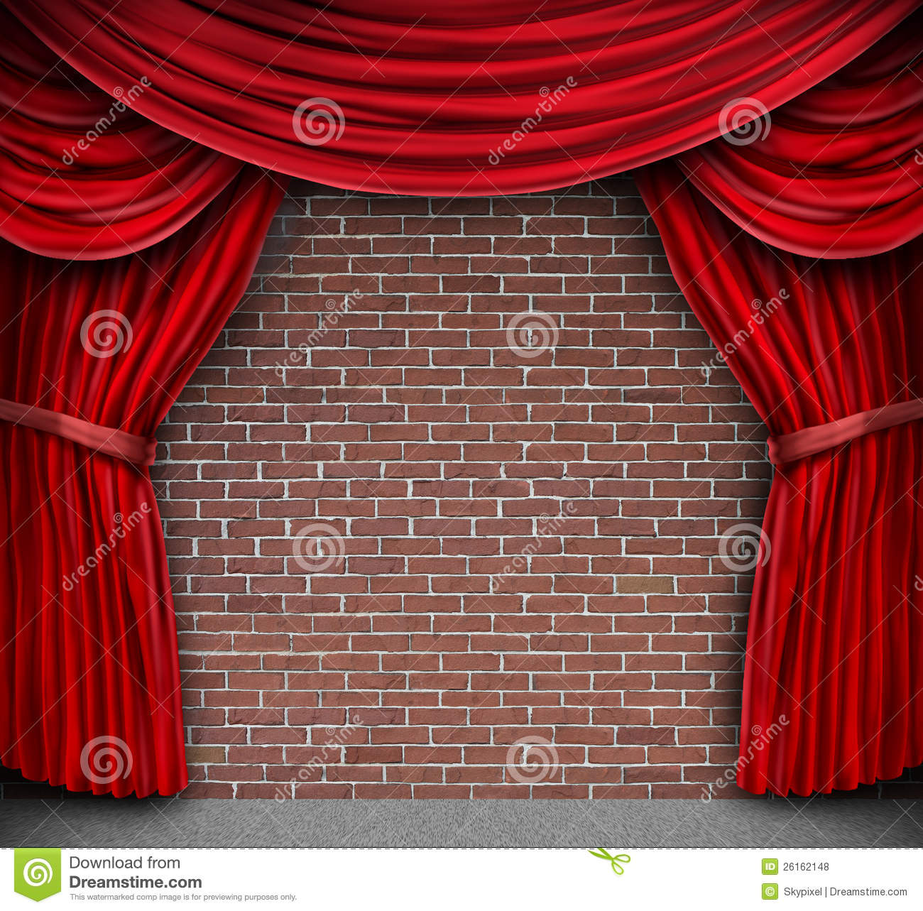 Red Curtains On A Brick Wall. Red Curtains On A Brick Wall Royalty Free Stock Photos   Image