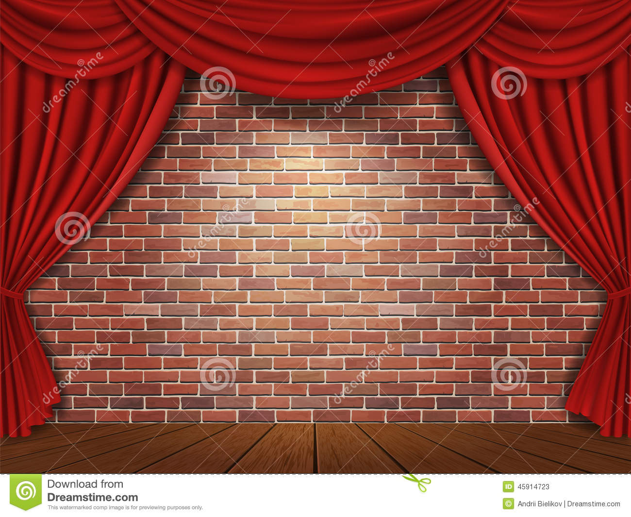 Red curtains on brick wall background stock vector image for Curtains to go with red walls