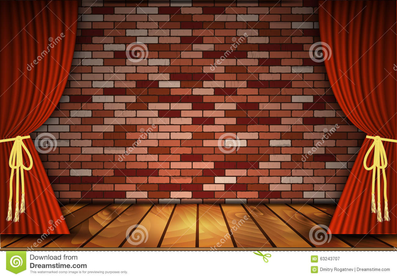 Red Curtains On Brick Wall Stock Vector Image 63243707