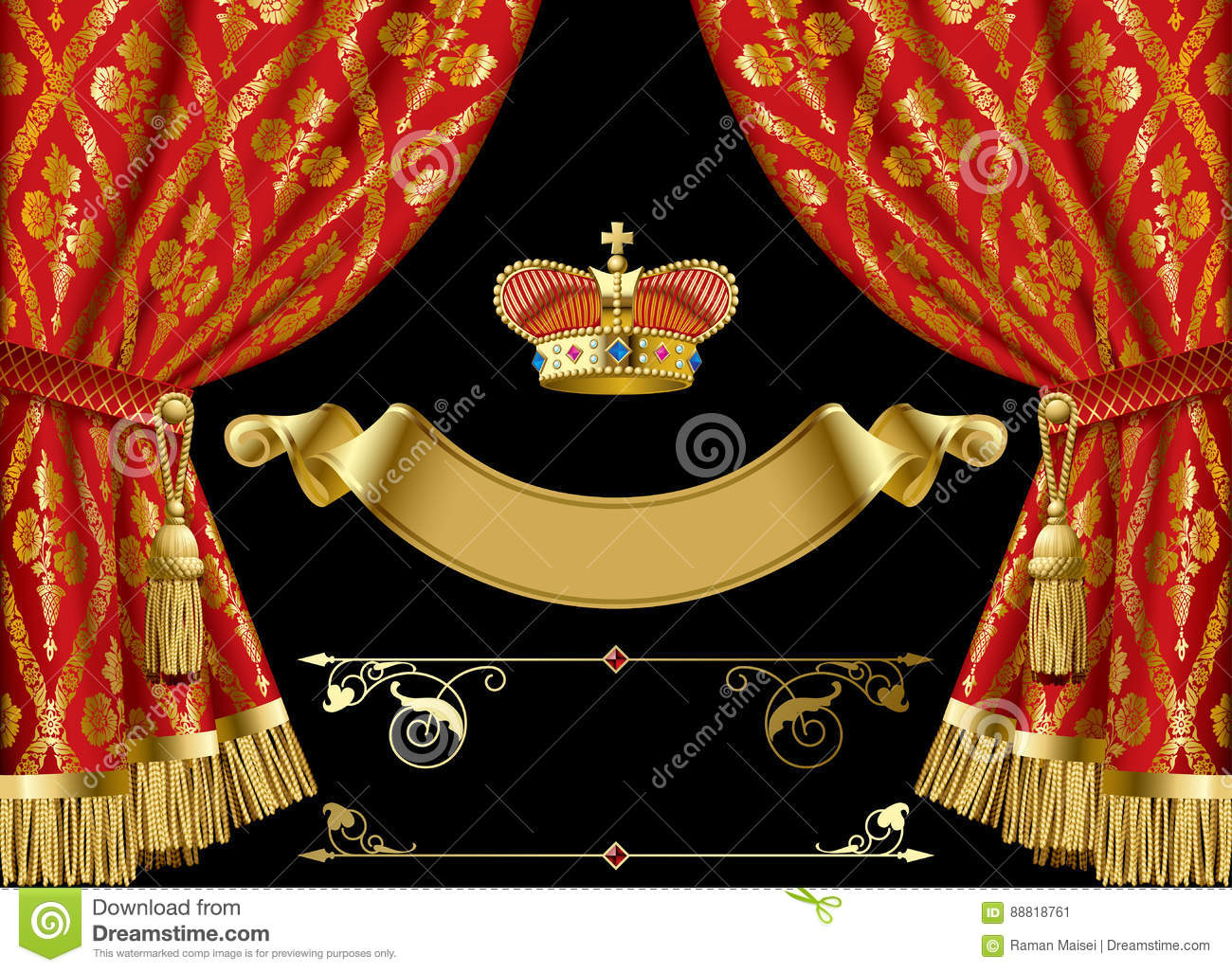 Red Curtains With Crown And Retro Decorative Design Elements Stock