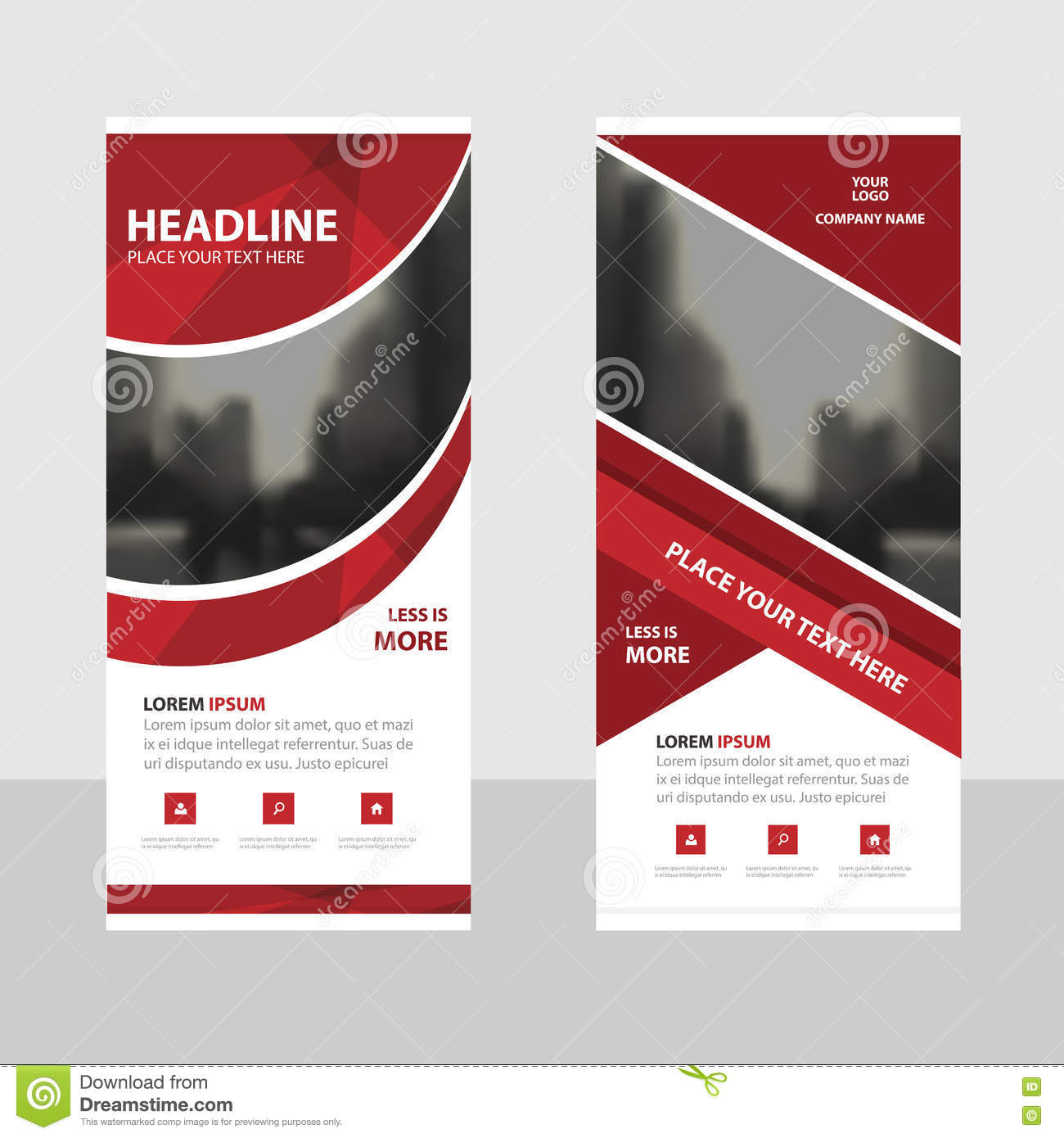 Red curve Business Roll Up Banner flat design template ,Abstract Geometric banner template Vector illustration set, abstract