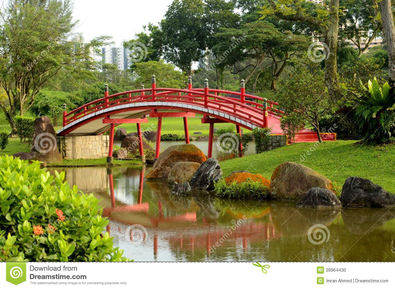 royalty free stock photo download red curved bridge japanese garden