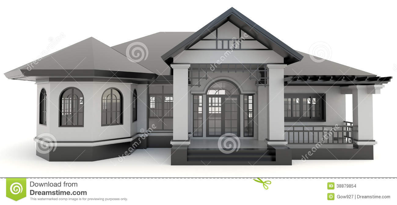 Red 3d modern office building exterior in white stock for Office building exterior design